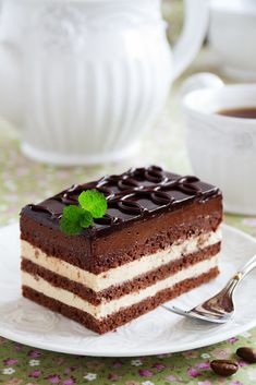 "Chocolate and coffee cake ""Opera"". Sweet Desserts, No Bake Desserts, Sweet Recipes, Cake Recipes, Dessert Recipes, Eclairs, Opera Cake, Russian Desserts, Italian Cream Cakes"