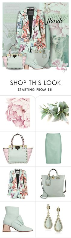 """Floral Outfit in Mint"" by olga1402 ❤ liked on Polyvore featuring Valentino, Armani Collezioni, FAUSTO PUGLISI, Beau Coops, Karen Kane, vintage and vintageflorals"