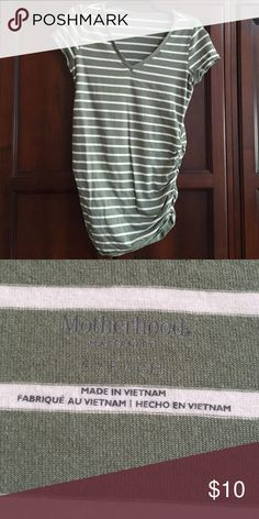 Maternity Top Motherhood Maternity Top size Small. No rips, tears or stains. Smoke Free Home.  Green and White Stripe. V Neck. Please see my closet for lots of other Maternity clothes and same top in different colors. Also, bundle for discounts. Happy Poshing! 👗👠👜 Motherhood Maternity Tops