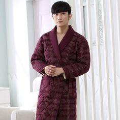 95b9d3eb6b Brand New Winter Men s Nightgowns Warm Striped Robes Men Bath Robe Quilted  Sleepwear Robe Spa Shower