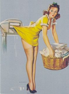 "The work of the amazing Gil Elvgren. House chores can be dangerous! Titled ""Belle Wringer,"" painted in 1940."