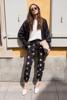 sass and bide, star print, bomber jacket, spektre, geneva, street style, jeremy spierer, old town, clutch, topshop, fur, Iro, Luj Paris, zara, bohemian, urban, soraya bakhtiar