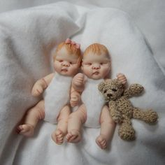 Miniature Baby Twins Hand Sculpted Dolls by alliebeandolls on Etsy, $85.00