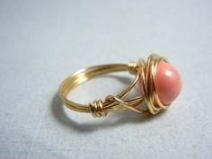 Swarovski Pink Coral Pearl Ring by threestonebirds
