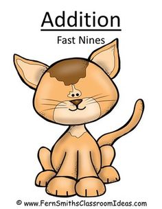 ** 50% Off for the First Two Days! ** Addition Fast Nines - Quick and Easy Center and Printables - Kitten Themed #TPT $Paid