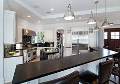 Absolute Black Honed Granite Countertops White Cabinets