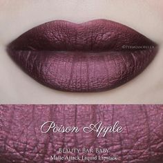 New Semi Metallic Liquid Lipstick in Poison Apple ~ I'm aiming for a Sunday 8/16 Release for this & the other 5 shades. PRESSED MATCHING EYESHADOW WILL BE AVAILABLE for this shade!  See previous posts for more pics  ••••• Lip swatch provided by the amazing @permiasorella