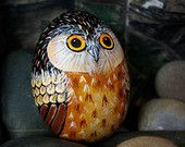 Handsome whimsical handpainted owl