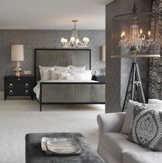 15 Delightful Transitional Bedroom Designs To Get Inspiration From - Home Decor Interior, Home, Elegant Bedroom, House Interior, Bedroom Inspirations, Silver Bedroom, Contemporary Bedroom, Floor Lamps Living Room, Interior Design