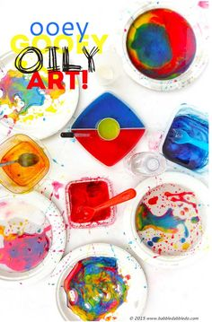 Process Art for Kids - Ooey Gooey Oily Art - Fun, educational - the one caveat, it is messy. So I, personally, would probably only do with one grandchild at a time. :)