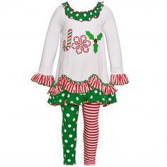 041258760ca Bonnie Jean Little Girls Green Red Stripe Dot