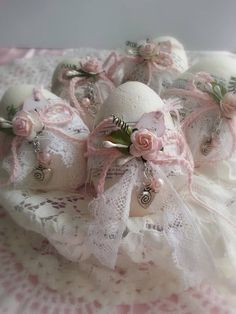 Vintage and shabby Easter Eggs are such a pretty way to use those scraps of lace that seem to accumulate in the drawer. To obtain pristine white, or the original color of vintage lace, remove stains with Mama's Miracle Linen Soak.   -  #StainRemoval #stainremovalDIY #stainremovalSoap #stainremovalUrine