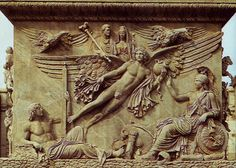 Apotheosis of Antoninus and Faustina,   from the base of the Column of Antoninus in fhe Campus Martius (now Piazza di Montecitorio), Home.   Museo Pio-Clementino, Vatican City