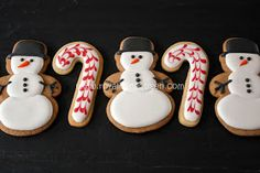 Snowmen Candy Canes~               By Royal Icing Queen, white, black top hat, Orange Carrot nose, red