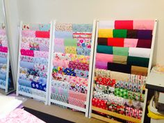 Awesome fabric storage idea for my sewing room using an old cot frame! DIY
