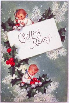 #1114 50s Rust Craft Marjorie Cooper Attributed Angels-Vtg Christmas Card