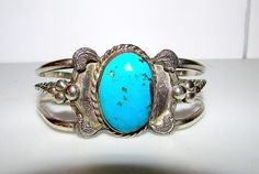 Native American Navajo Old Pawn Sterling Silver Turquoise Cuff Bracelet Squash Blossom Design