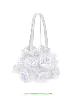 WonderfulDress Satin Organza Roses Girl's Purse-White-One Size: Do not forget to add this final touch to the picture. This satin organza roses decorated bag will complete her cuteness. It also comes in many different colors to match your wedding color. Cheap Flower Girl Dresses, Little Dresses, Girls Dresses, Rose Girl, First Communion Dresses, Rings For Girls, Pageant Dresses, White Satin, Wedding Colors