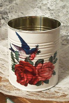 how to decoupage a tin can - Google Search