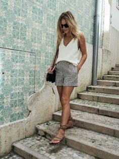 Pair high waisted striped short with a simple white tank this vacation. You'll effortlessly look put together. Let DailyDressMe help you find the perfect outfit for whatever the weather!
