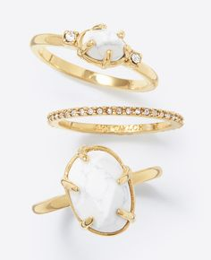 """This stackable set boasts a beautifully marbled howlite ring, joined by bands of sparkly pave and polished stones for shimmer and shine. 1/3"""" width, stacked."""