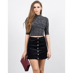 Come Say Hello Cord Mini Skirt | Corduroy skirt featuring button ...