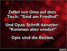 """Zettel von Oma auf dem Tisch: """"Sind am Friedhof"""".."""
