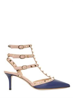 670.00 VALENTINO - 65MM ROCKSTUD CALFSKIN 65mm Leather covered high heel. Adjustable leather ankle straps with buckle closures. Gold coloured metal studs. Leather insole. Leather sole. Made in Italy