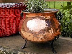 BIG Vintage French Copper Flower Planter. Cauldron Planter. Copper Pan. Jeanne DArc Living. Copper Pot. Home Decor. French Decor. Chateau Garden Decor.  *********  A big and beautiful Vintage French Copper Flower Planter.  This is a very elegant and stylish, large solid copper planter. shaped in the form of a Cauldron. Watertight.. it is perfect for indoor or outdoor use..  Made by top French coppersmiths at Villedieu, it has been superbly constructed in thick sheet copper and the surface…