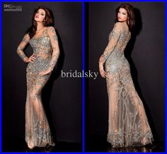 Wholesale Sexy Sheer Jewel Sheath Floor length Applique Sequin Faceted Crystal Prom Gowns Evening Dresses p-43, Free shipping, $151.2-155.68/Piece | DHgate