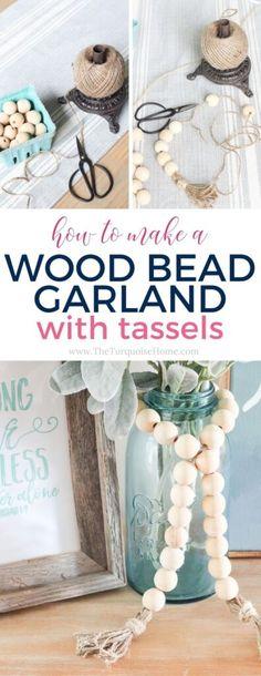 Diy Crafts For Adults, Diy Home Crafts, Easy Diy Crafts, Cute Crafts, Bead Crafts, Decor Crafts, Home Decor, Wood Bead Garland, Diy Garland