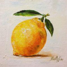 Lemon with Leaves 2 Still Life Original Oil by NinaRAideStudio