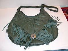 Vintage Cowgirl Leather Green Fringe Concho Western Hobo Bag Purse Women'S | eBay