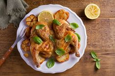 Tired of looking for a flavorful chicken recipe? This Spatchcock Chicken with Lemon Garlic Sauce is delicious, juicy, and sure to become a weeknight staple. Top Recipes, Turkey Recipes, Chicken Recipes, Kosher Recipes, Entree Recipes, Chicken Under A Brick, Lemon Garlic Sauce, Spatchcock Chicken, Chicken With Olives