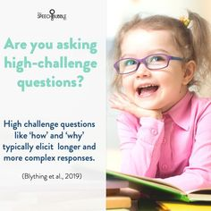 Asking questions is something that we work on a lot, but did you know that using 'high-challenge' questions, like how and why, can elicit a deeper understanding of meaning because they require the child thinking past the literal meaning of the text 💡📚⁣