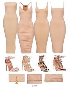 Remember Carrie Bradshaw's legendary nude dress and wear it with other nude accessories for a safe yet sexy result. If you want to make it more casual, add… Continue Reading → Nude Outfits, Classy Outfits, Casual Outfits, Fashion Outfits, Womens Fashion, Fashion Pants, Pastel Outfit, Sexy Dresses, Cute Dresses
