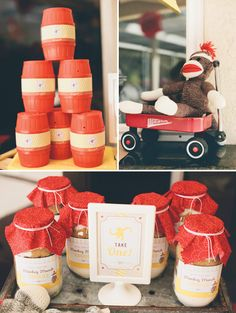 Classic Sock Monkey Birthday Party {with a Modern Twist} - barrel of monkeys favors for littles Monkey First Birthday, Monkey Birthday Parties, Tea Party Birthday, Baby Birthday, Birthday Ideas, Monkey Party Decorations, Sock Monkey Party, Monkey Baby, Curious George Birthday