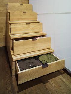 small apartments, storage under stairs, bunk beds, staircase design, stair risers, stair storage, east village, space saving, storage ideas