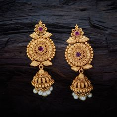 Conventional Antique Hanging Earrings studded with Ruby synthetic stones with gold Polish. Conventional Antique Hanging Earrings studded with Ruby synthetic stones with gold Polish. Kids Gold Jewellery, Gold Jewelry Simple, Gold Jewellery Design, Simple Earrings, Jewellery Making, Temple Jewellery, Gold Mangalsutra Designs, Gold Earrings Designs, Jhumka Designs