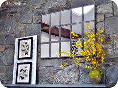 DIY Large Tiled Mantle Mirror