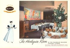MENU - CHICAGO - THE HARLEQUIN ROOM - PALMOLIVE BUILDING - FRED HARVEY - COVER - 1957