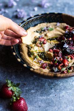 Summer Fruit Salsa and Pesto Hummus | halfbakedharvest.com @hbharvest