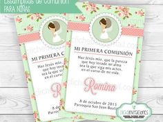 My first custom digital communion invitation. For communion or baptism girl. First Communion Party, Communion Invitations, Rsvp, Lily, Printables, Baby Shower, Handmade Gifts, Digital, Cards