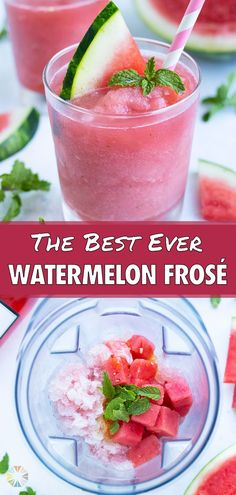 Refreshing Watermelon Frosé will become your favorite summer drink! This slushy recipe is made with fresh watermelon, rosé wine, mint, and honey in your blender. This cocktail is perfect for enjoying by the pool, at potlucks, or any Summer party! Healthy Spring Recipes, Summer Recipes, Frozen Summer Drinks, Low Carb Carrot Cake, Spring Soups, Frozen Rose, Frozen Lemonade, Best Blenders