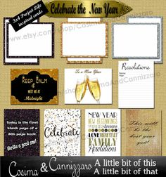 Beautiful New Years Celebrate Journal Cards, Project Life Inspired 3x4 Printable PNG, Digital Scrapbooking, Instant Download, Becky Higgins Project Life Inspired Journaling Cards