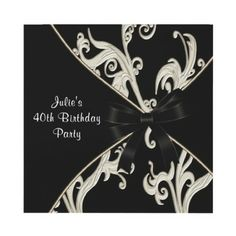 Black White Swirl Womans 40th Birthday Party Personalized Invite by InvitationCentral