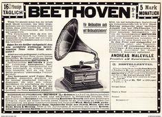 Werbung - Original-Werbung/ Anzeige 1908 - SPRECHMASCHINE BEETHOVEN 2 / ANDREAS MALEVILLE - FRANKFURT a.M. - ca. 180 x 120 mm