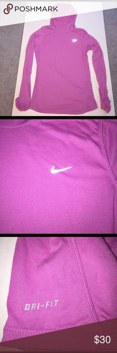 Nike Dri-Fit Long Sleeve Running Shirt w/ Hood Never Worn!  Nike Long Sleeve Dri-Fit Running Shirt with Hood.  Pocket in hood to hold keys, pin holes in wrist for fingers.  Pink - Size Large.  Comes from a smoke free/pet free home Nike Tops Tees - Long Sleeve
