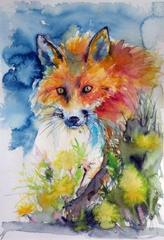 ARTFINDER: Red fox by Kovács Anna Brigitta - Original watercolour painting on high quality watercolour paper. I love landscapes, still life, nature and wildlife, lights and shadows, colorful sight. Thes...
