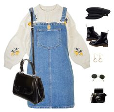 """San Fran."" by greciapaola ❤ liked on Polyvore featuring Topshop, Theodora Warre, Dr. Martens, Ray-Ban, Fujifilm and Fendi"